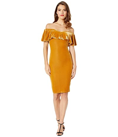 Unique Vintage Velvet Draped Off Shoulder Sophia Wiggle Dress (Mustard) Women