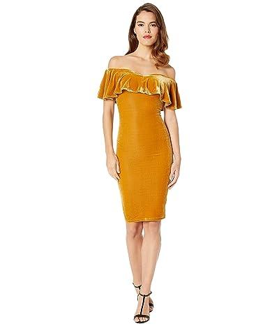 Unique Vintage Velvet Draped Off Shoulder Sophia Wiggle Dress (Mustard) Women