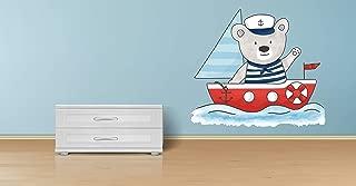 Teddy Bear Sailor On The Sea Vinyl Color Wall Decal, Teddy Bear Sailor On The Sea Color Wall Sticker, DP-114 WD (22