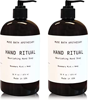 Muse Bath Apothecary Hand Ritual - Aromatic and Nourishing Hand Soap, 16 oz, Infused with Natural Essential Oils - Rosemary Mint + Hemp, 2 Pack