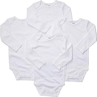 Carter's Unisex-Baby 4-Pack Long Sleeve Bodysuits - White - 9M