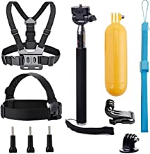 VVHOOY Universal Action Camera Accessories Bundle-Head Chest Strap Mount/Selfie Stick/Floating Hand Grip Compatible with Campark ACT74/Dragon Touch 4K/AKASO EK7000 Brave 4 5 6/Vantop Moment
