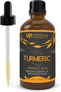 Turmeric Essential Oil - for Face & Skin Care - Great in Soap or Ointment - Non-GMO, Pure, Undiluted & Strong! Helps Hair Growth, Eczema, Acne, Aging - Cold and Flu Relief - with Dropper (4 oz.)