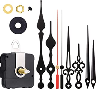 Clock Motor Movement Wall Clock Movement Mechanism DIY Repair Parts Replacement with 3 Different Pairs of Hands (0.79 Inch Shaft, Black Red)