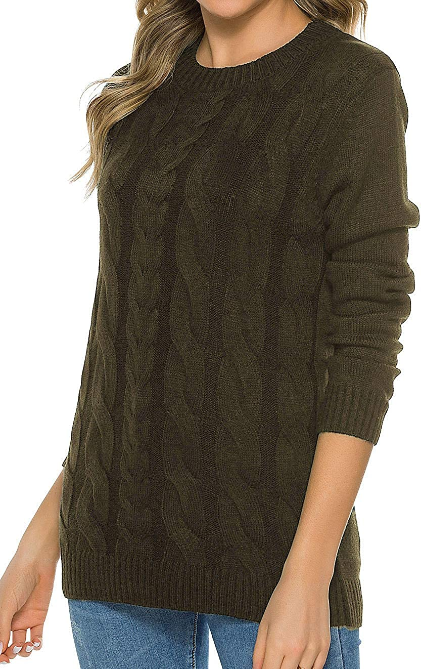 Max 57% OFF Locryz Women's Long Sleeve Crewneck Cable Loose Casual Swea Jacksonville Mall Knit