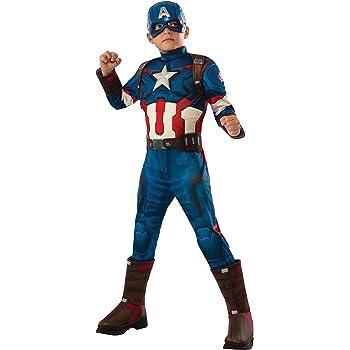 Rubies Capitán América - Disfraz deluxe, para niños, talla 8-10 ...