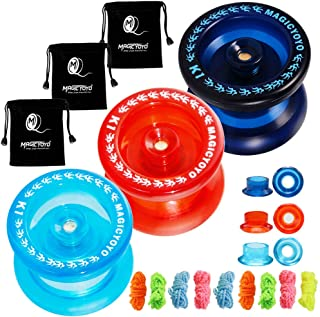 CHEE MONG Responsive Yoyo Pack of 3, MAGICYOYO K1-Plus Yoyo Dark Blue, Red, Crystal Blue for Kids Beginner with 3 Yoyo Bags, 9 Yoyo Replacement Strings for Thanksgiving Gift