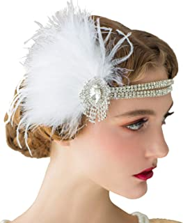 542db1456d418 SWEETV Ivory Flapper Headbands, Great Gatsby Headpiece, 1920s Accessories  for Women, Peacock Feather