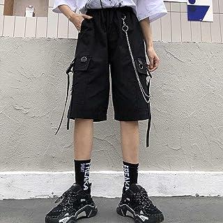 Woovitpl Streetwear Womens Shorts Ribbons High Waist Short Harajuku Summer Black Wide Leg Cargo Women's Shorts Female Soli...