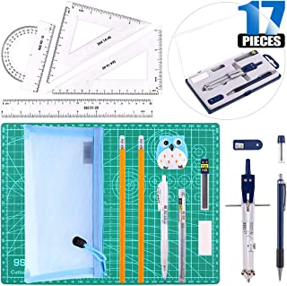 Glarks 17Pcs Protractor and Compass Geometry School Set, Including Compass, Protractor, Rulers, Pencil, Cutting Mat, Pencil Lead Refills, Pencil Sharpener, Eraser for Students and Engineering Drawing