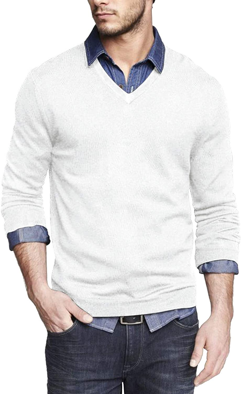 JINIDU Men's V Neck Knit Dress Sweater Casual Long Sleeve Slim Fit Pullover Top