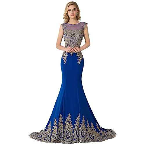 8888e9bf506 MisShow Women s Embroidery Lace Long Mermaid Formal Evening Prom Dresses