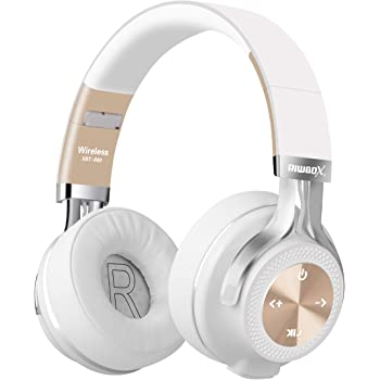casque audio blanc et or