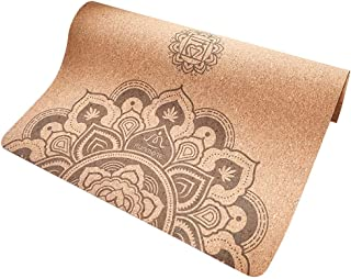 """FUN MORE Cork Yoga Mat,Natural Rubber, Non-Slip,Eco-Friendly with Carrying Strap, Non-Toxic, 72"""" x 24"""" x 4 mm Extra Large/Wide for Hot Yoga, Pilates and Exercise"""