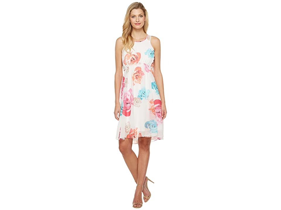 Calvin Klein High-Low Chiffon Dress CD7H234V (White Multi) Women