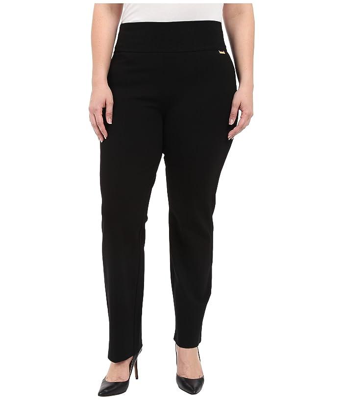 Plus Size Wide Waist Straight Pants (Black) Women's Casual Pants