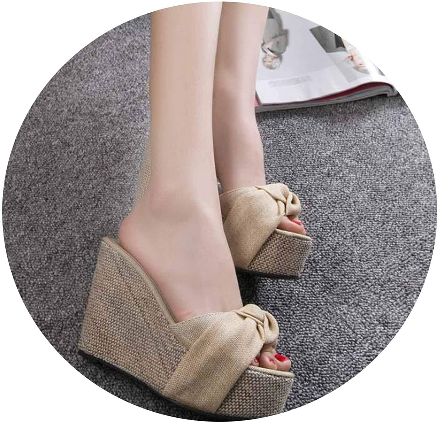 Summer Wedges Slippers Women shoes Rome Style Flower Slippers high-Heeled Waterproof Tai