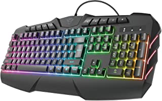 Trust Gaming Teclado Gamer LED RGB Semimecánico GXT 881 ODYSS Iluminación LED Multicolor en 6 Modos de Luz, Disposición QW...