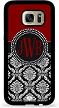 Custom Phone Case Galaxy S7 Case iZERCASE Monogram Personalized Maroon and Black Damask Pattern for Samsung Galaxy S7 (Maroon)