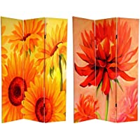 Oriental Furniture 6 ft. Tall Double Sided Canvas Room Divider (Poppies and Sunflowers)