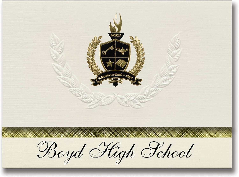 Signature Ankündigungen Boyd High School (Boyd, TX) Graduation Ankündigungen, Presidential Stil, Elite Paket 25 Stück mit Gold & Schwarz Metallic Folie Dichtung B078VF14LQ    | Creative