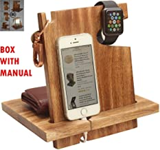abhandicrafts – Wooden Docking Station Men Personalized Nightstand Organizer Cell Phone Stand 50th for Couple, Funny, 6s Plus, 6s, 6 Plus, 6, 5, 5s Made Wood