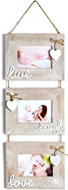 """Yaetm Live Laugh Love Collage Hanging Picture Frame 4x6"""", Solid Wood 3 Photo Frames Set, Wall Mount Verticval Display, Rustic"""