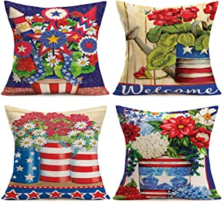 Aremetop Set of 4 Floral Blossom Throw Pillow Covers Creative Art Red Blue Stars Stripes Print Flower Vase Blossom Decorative Cotton Linen Pillow Cases 18x18 Inches Square Cushion Cover Pillowcase