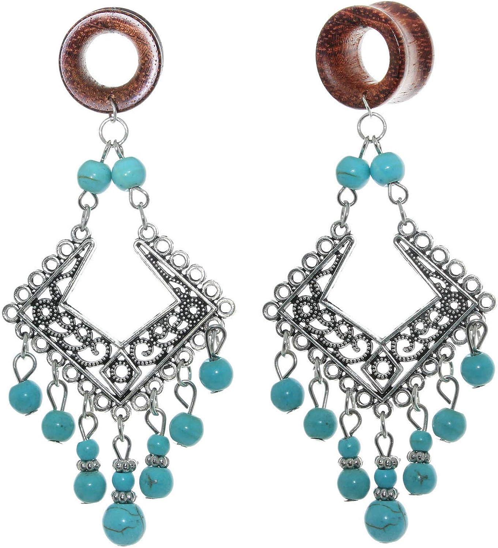 Turquoise Beads Tassel Wooden Dangle Gauge Tunnels Ear Earrings Free shipping / New Ranking TOP11