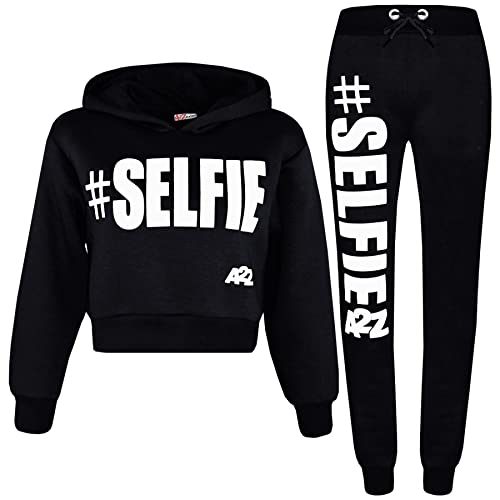 b87a204efe73 Kids Girls Tracksuit Designer #Selfie Hooded Crop Top & Bottom Jog Suit 5-13