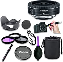 Canon EF-S 24mm f/2.8 STM Lens with 3 Piece Filter Kit, Lens Cleaning Pen, Rubber Air Dust Blower, Hood, Pouch/Sleeve, Cap Keeper (8 Items)