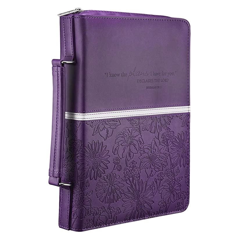 Floral Embossed Bible / Book Cover - Jeremiah 29:11 (Medium, Purple)