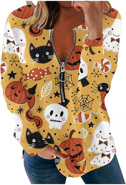 Casual Pullover Halloween Indianapolis Mall Pumpkin Printed Stripe Topics on TV Zipper Skeleton