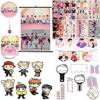 BTS Gifts Set for Army - 1 BTS Pillow Slip, 8 BTS Posters, 1 BTS Phone Finger Ring Holder, 1 BTS Key Ring, 1 BTS Tattoo St...