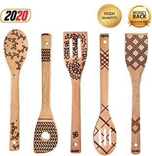 5 PCS Unique Pattern Burned Wooden Spoons Set - Best Gifts Idea for Family - Non-Stick Bamboo Utensil Set for Cooking (Geo...