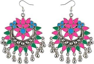 Karatcart Multi-Colour Antique Oxidized Metal Afgani Tribal Earrings For Women
