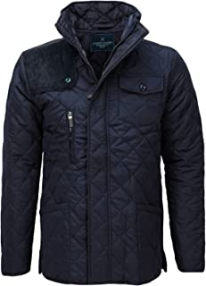 James Darby Mens Slim Fit Padded Diamond Quilted Cord Patch Winter Jacket Coat