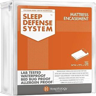 """محصولات بهداشتی سیستم دفاع خواب - محصور کردن تشک زیپ دار - کامل / دو برابر - هیپو آلرژی زا - ضد آب - اثبات اشکال تختخواب و گرد و غبار - کشش - استاندارد 12 """"عمق - 54"""" W x 75 """"L"""