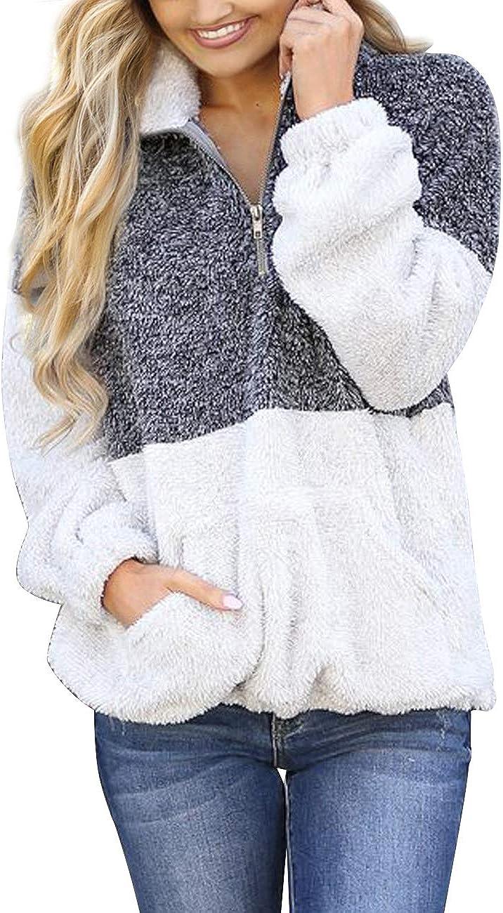 Max 41% OFF MEROKEETY Women's Long Sleeve Contrast Pile Sherpa Zipper lowest price Color