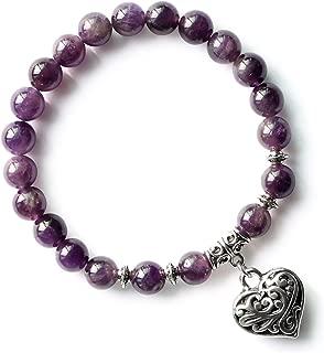 Natural Gemstone 8mm Beaded Bracelet Vintage Heart Charm Pendant Stretch Beads Bracelet Gifts for Women