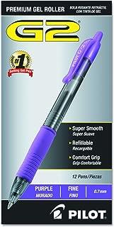Pilot G2 Retractable Premium Gel Ink Roller Ball Pens Fine Point Purple Ink Dozen Box (31029)