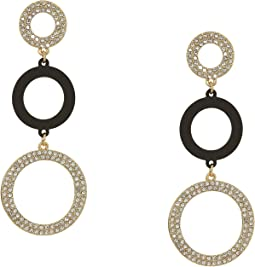 3 Ring Linear Drop Earrings with Sprayed Black