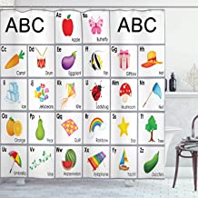 Ambesonne Alphabet Shower Curtain, Educational Themed Squares with Letters Animals and Vegetables Nursery Composition, Cloth Fabric Bathroom Decor Set with Hooks, 75 Long, Purple Yellow