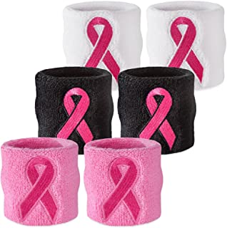 Suddora Pink Ribbon Wristbands - Breast Cancer Awareness Sweatband Pairs