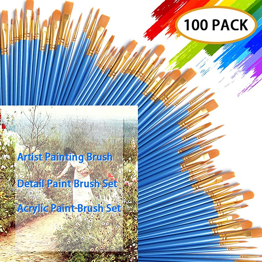 DECYOOL Acrylic Paint Brush Set,10 Packs / 100 pcs Nylon Hair Brushes for All Purpose Oil Watercolor Painting,Miniature Detail Painting Artist Professional Painting Kits
