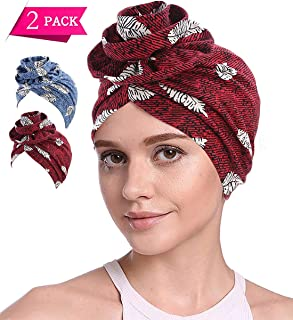 Cotton Turbans for Women Flower Knot Headwrap Pre-Tied Bonnet Boho Pattern Chemo caps for Hair Loss