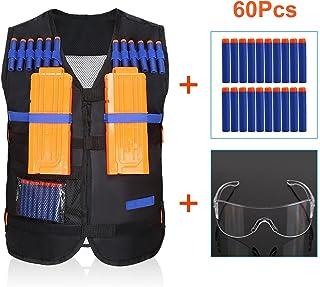 / /Noir dot/ée de masque visage + Lunettes + 100pcs fl/échettes balles cosoro enfants gilet gilet tactique Kit pour pistolet de nerf N-Strike Elite Series