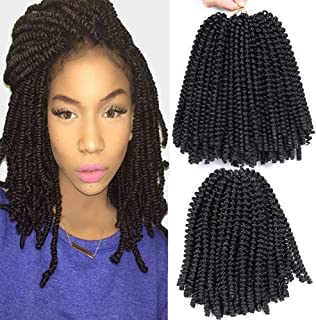 3 Packs Spring Twist Hair Crochet Braids Ombre Braiding Hair Synthetic Crochet Hair Extensions Jamican Bounce Kinky Curl Hair 8 Inch (1B#)