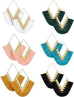 6 Pairs Colorful Statement Tassel Earrings, Handmade Bohemian Hanging Fringe Dangle Earrings for Women Girls