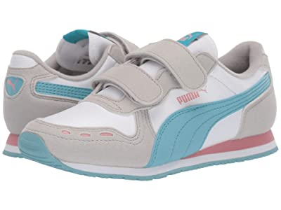Puma Kids Cabana Racer SL Velcro (Little Kid) (PUMA White/Milky Blue/Gray Violet) Girls Shoes
